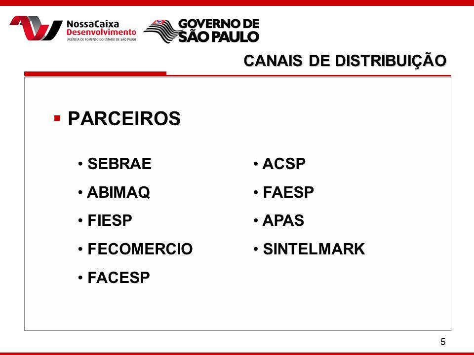 5 PARCEIROS CANAIS DE DISTRIBUIÇÃO SEBRAE ABIMAQ FIESP FECOMERCIO FACESP ACSP FAESP APAS SINTELMARK