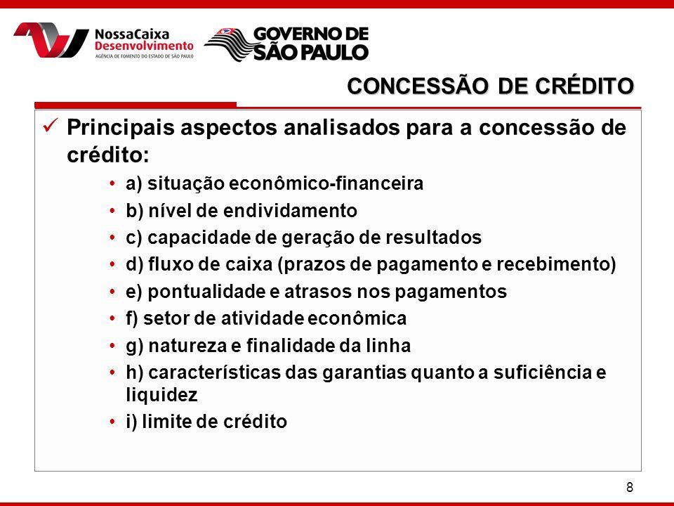 8 Principais aspectos analisados para a concessão de crédito: a) situação econômico-financeira b) nível de endividamento c) capacidade de geração de r