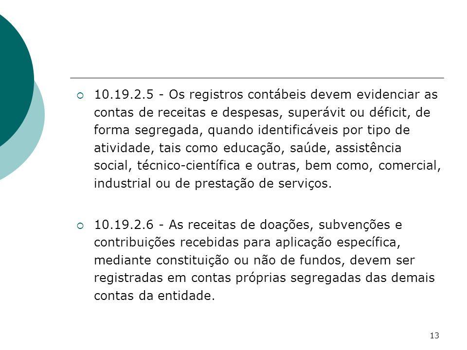 13 10.19.2.5 - Os registros contábeis devem evidenciar as contas de receitas e despesas, superávit ou déficit, de forma segregada, quando identificáve