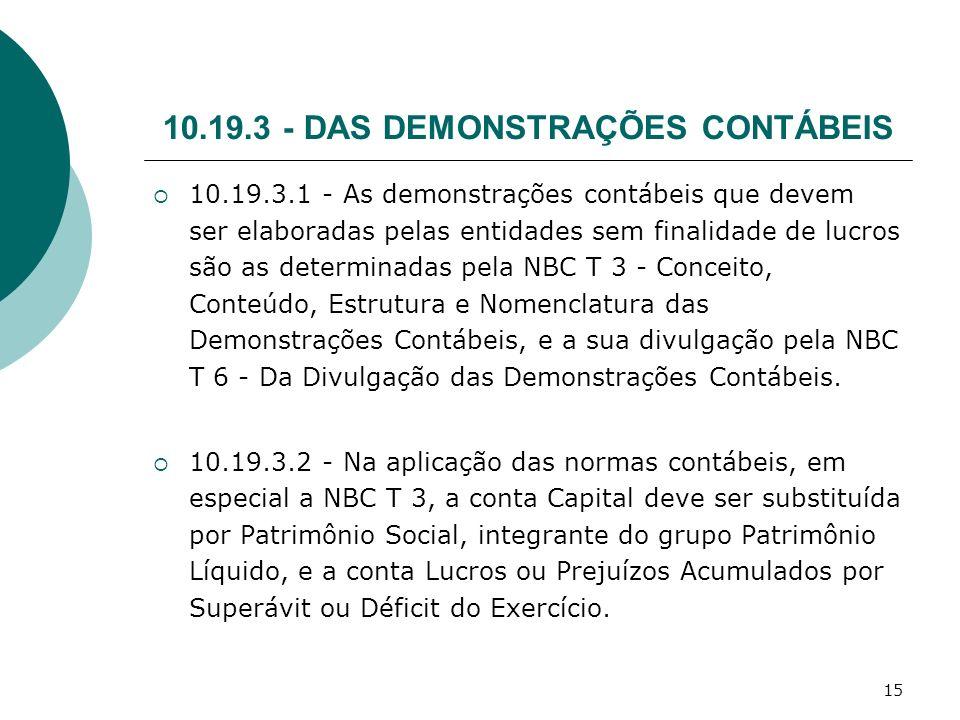 15 10.19.3 - DAS DEMONSTRAÇÕES CONTÁBEIS 10.19.3.1 - As demonstrações contábeis que devem ser elaboradas pelas entidades sem finalidade de lucros são
