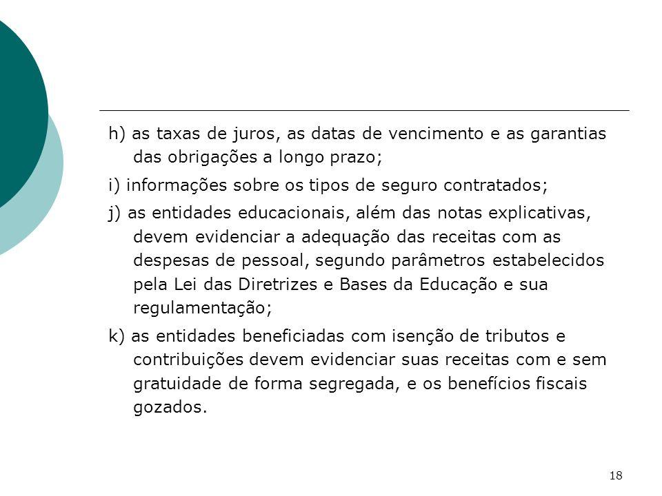 18 h) as taxas de juros, as datas de vencimento e as garantias das obrigações a longo prazo; i) informações sobre os tipos de seguro contratados; j) a