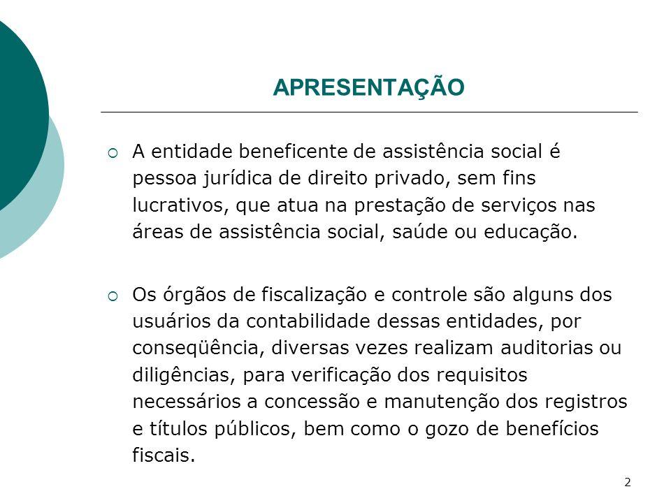 2 APRESENTAÇÃO A entidade beneficente de assistência social é pessoa jurídica de direito privado, sem fins lucrativos, que atua na prestação de serviç