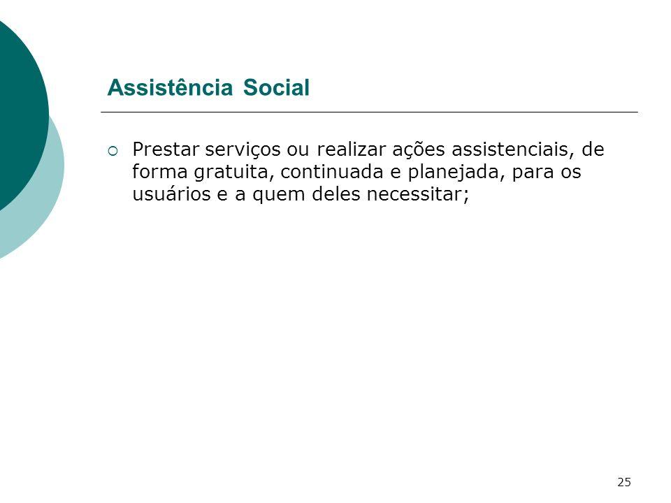 25 Assistência Social Prestar serviços ou realizar ações assistenciais, de forma gratuita, continuada e planejada, para os usuários e a quem deles nec
