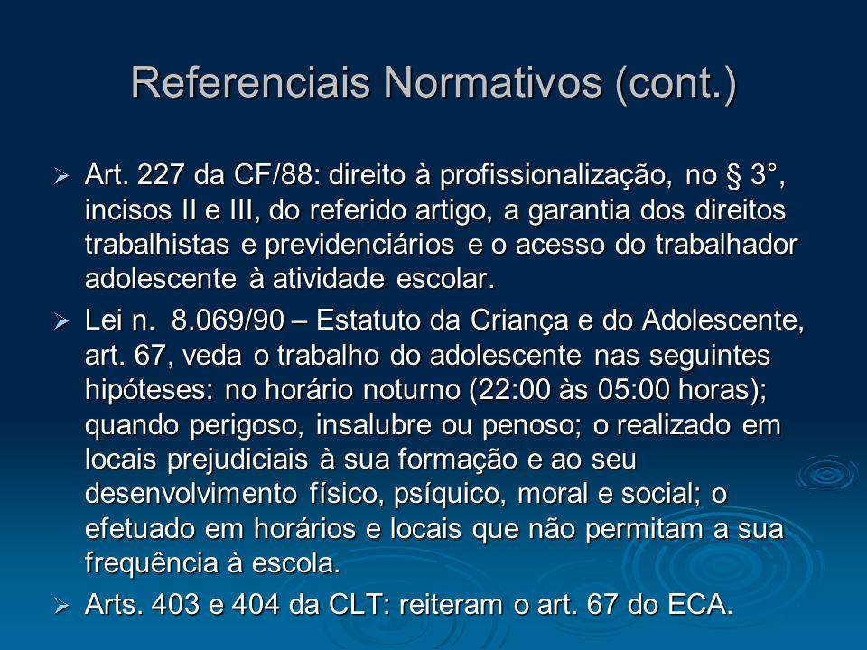 Referenciais Normativos (cont.) Art. 227 da CF/88: direito à profissionalização, no § 3°, incisos II e III, do referido artigo, a garantia dos direito