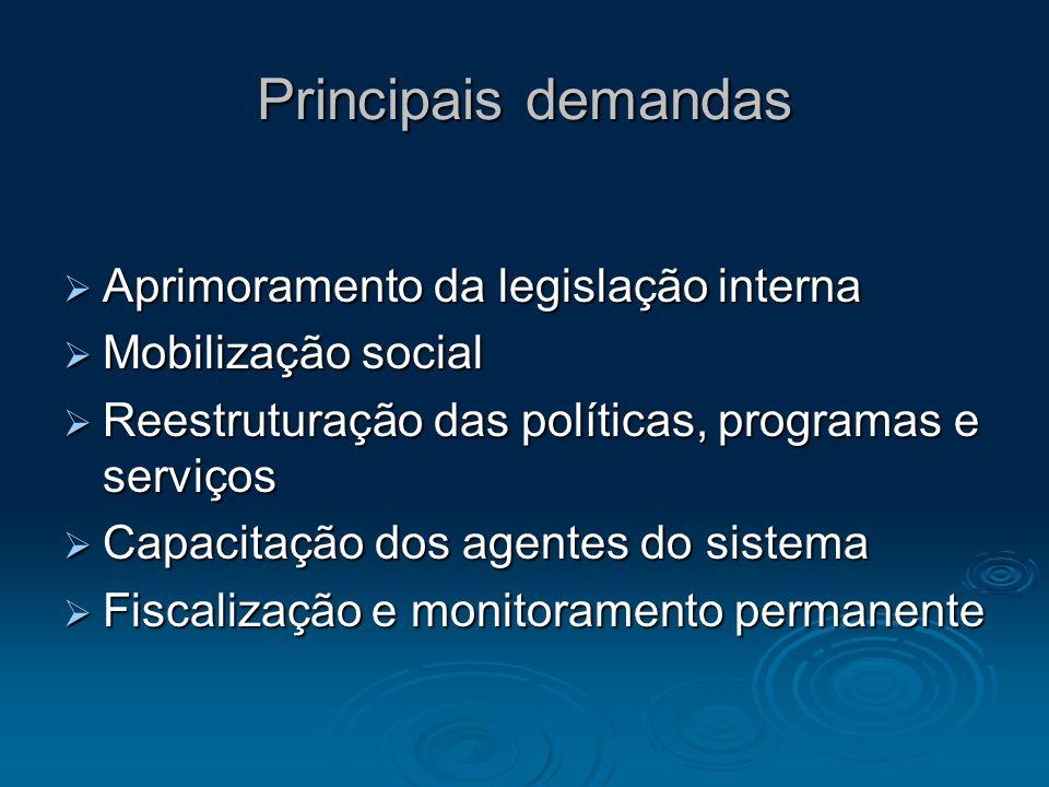 Aprimoramento da legislação interna Aprimoramento da legislação interna Mobilização social Mobilização social Reestruturação das políticas, programas