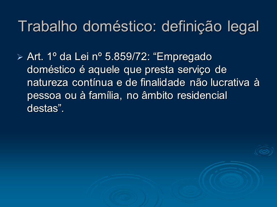 Trabalho doméstico: definição legal Art. 1º da Lei nº 5.859/72: Empregado doméstico é aquele que presta serviço de natureza contínua e de finalidade n