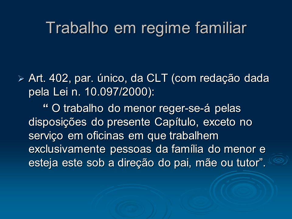 Trabalho em regime familiar Art. 402, par. único, da CLT (com redação dada pela Lei n. 10.097/2000): Art. 402, par. único, da CLT (com redação dada pe