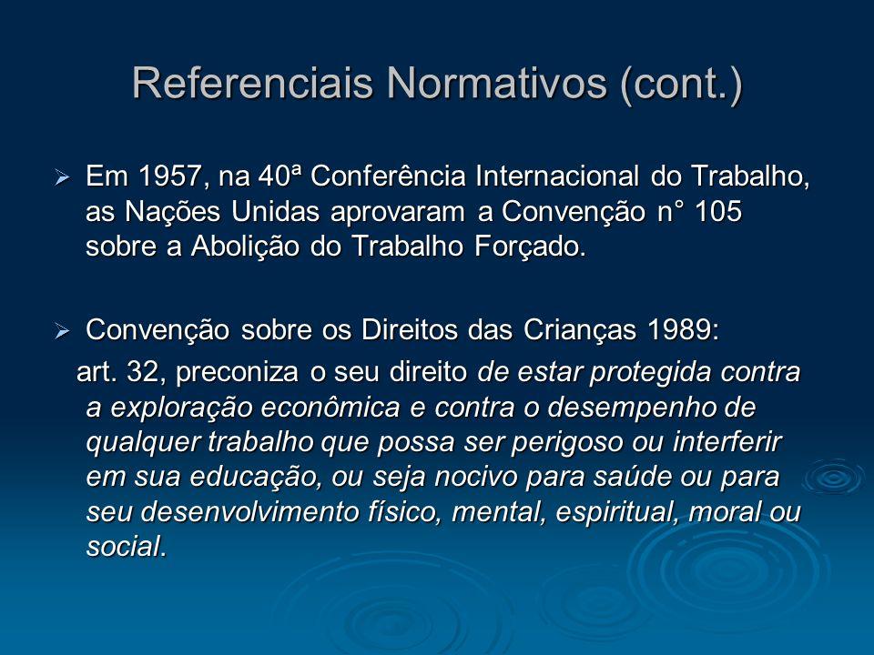 Referenciais Normativos (cont.) Em 1957, na 40ª Conferência Internacional do Trabalho, as Nações Unidas aprovaram a Convenção n° 105 sobre a Abolição