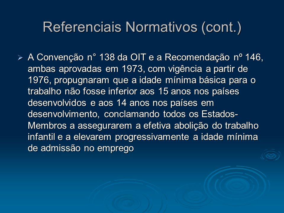Referenciais Normativos (cont.) A Convenção n° 138 da OIT e a Recomendação nº 146, ambas aprovadas em 1973, com vigência a partir de 1976, propugnaram