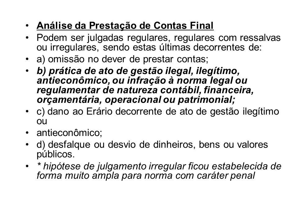 Análise da Prestação de Contas Final Podem ser julgadas regulares, regulares com ressalvas ou irregulares, sendo estas últimas decorrentes de: a) omis