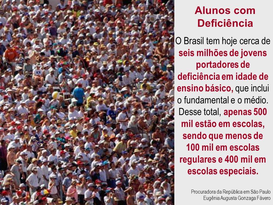 O Brasil tem hoje cerca de seis milhões de jovens portadores de deficiência em idade de ensino básico, que inclui o fundamental e o médio. Desse total