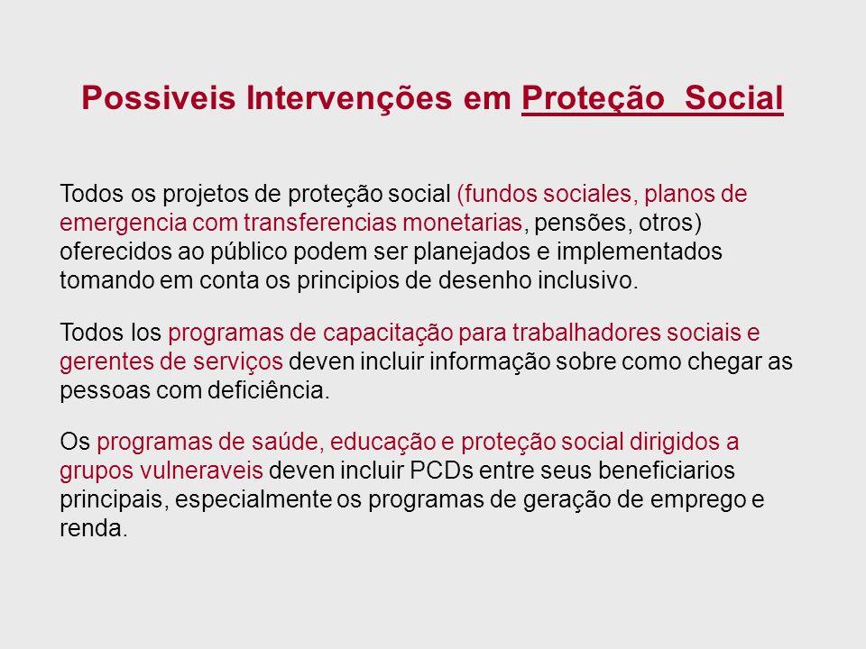 Todos os projetos de proteção social (fundos sociales, planos de emergencia com transferencias monetarias, pensões, otros) oferecidos ao público podem