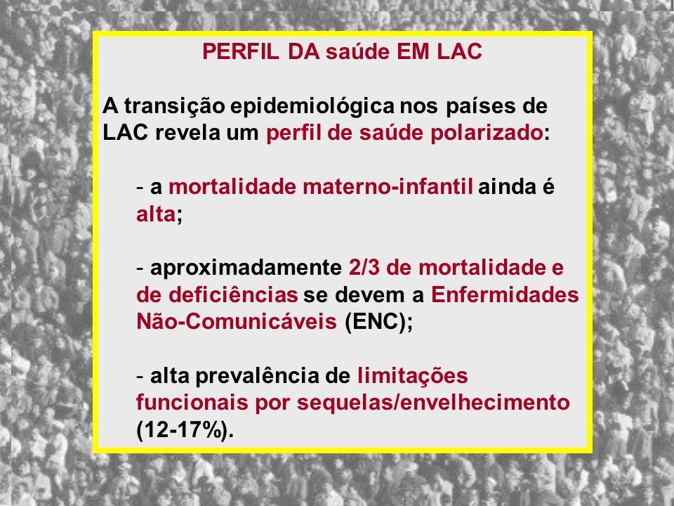 PERFIL DA saúde EM LAC A transição epidemiológica nos países de LAC revela um perfil de saúde polarizado: - a mortalidade materno-infantil ainda é alt