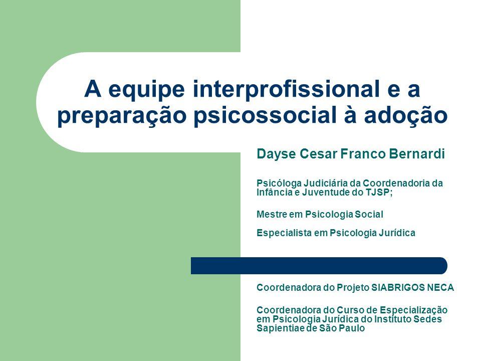A equipe interprofissional e a preparação psicossocial à adoção Dayse Cesar Franco Bernardi Psicóloga Judiciária da Coordenadoria da Infância e Juvent