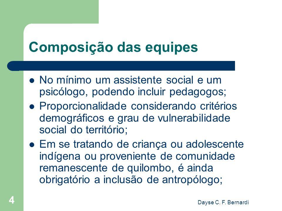 Dayse C. F. Bernardi 4 Composição das equipes No mínimo um assistente social e um psicólogo, podendo incluir pedagogos; Proporcionalidade considerando