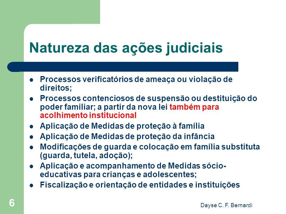 Dayse C. F. Bernardi 6 Natureza das ações judiciais Processos verificatórios de ameaça ou violação de direitos; Processos contenciosos de suspensão ou