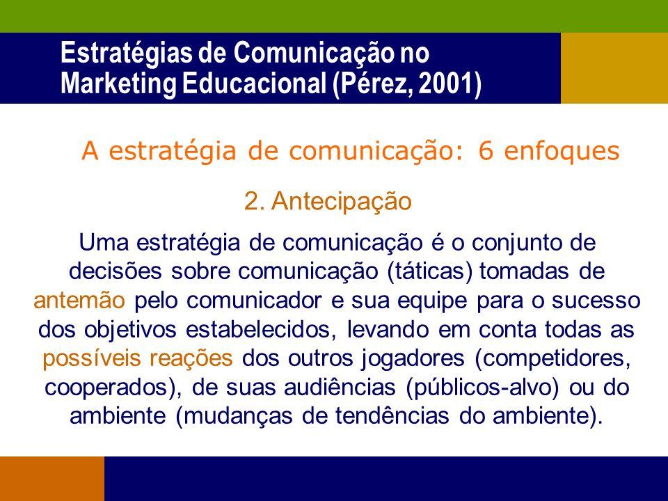 A estratégia de comunicação: 6 enfoques 1. Conjunto de táticas Uma estratégia de comunicação pública se reflete em um conjunto de táticas que utilizam