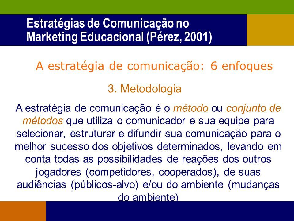 A estratégia de comunicação: 6 enfoques 2. Antecipação Uma estratégia de comunicação é o conjunto de decisões sobre comunicação (táticas) tomadas de a