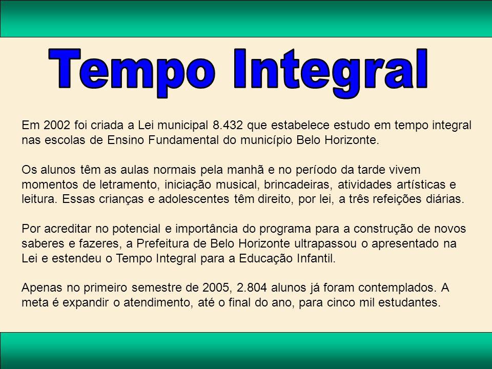Em 2002 foi criada a Lei municipal 8.432 que estabelece estudo em tempo integral nas escolas de Ensino Fundamental do município Belo Horizonte. Os alu