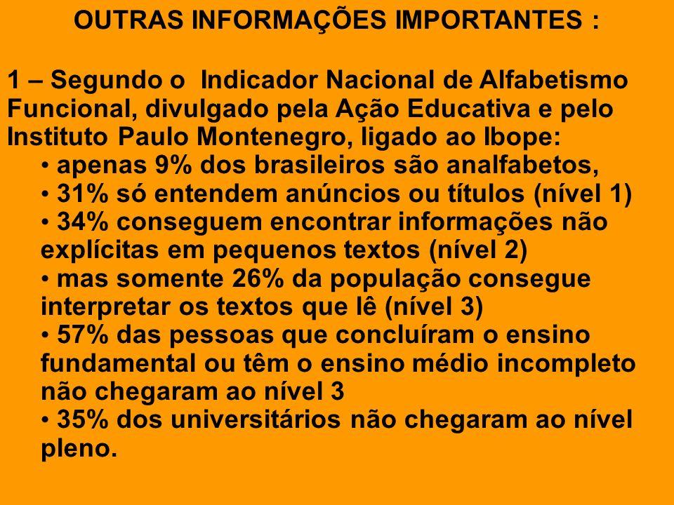 OUTRAS INFORMAÇÕES IMPORTANTES : 1 – Segundo o Indicador Nacional de Alfabetismo Funcional, divulgado pela Ação Educativa e pelo Instituto Paulo Monte