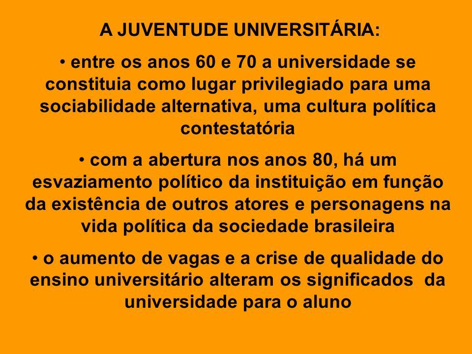 A JUVENTUDE UNIVERSITÁRIA: entre os anos 60 e 70 a universidade se constituia como lugar privilegiado para uma sociabilidade alternativa, uma cultura