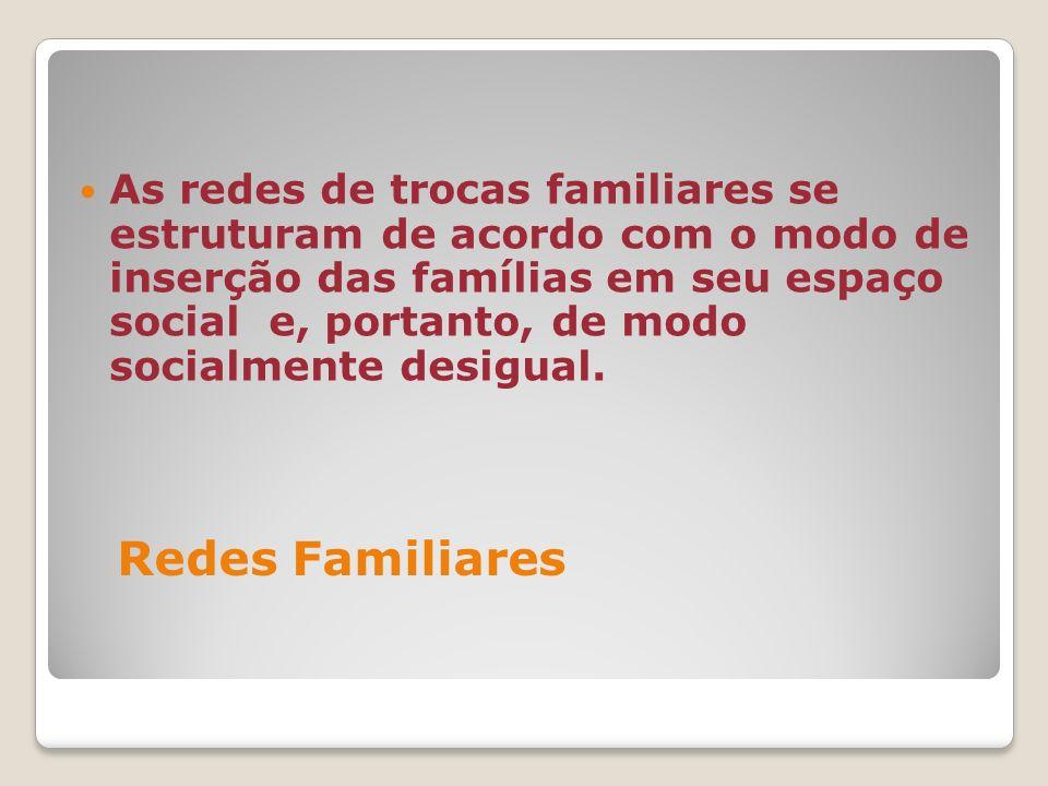As redes de trocas familiares se estruturam de acordo com o modo de inserção das famílias em seu espaço social e, portanto, de modo socialmente desigual.