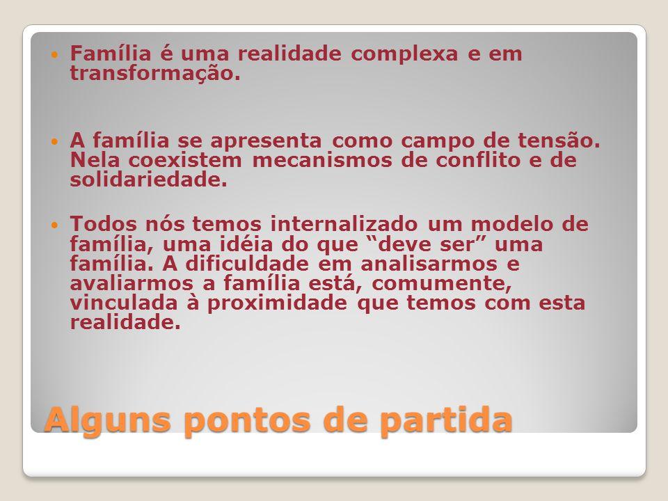Alguns pontos de partida Família é uma realidade complexa e em transformação.