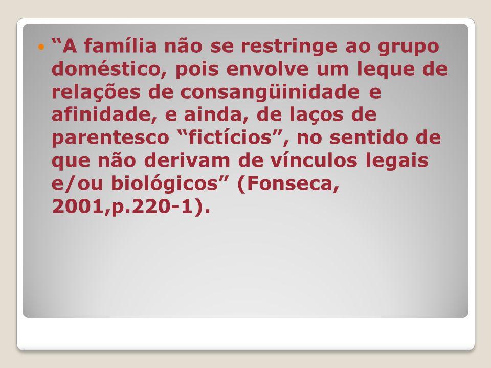 A família não se restringe ao grupo doméstico, pois envolve um leque de relações de consangüinidade e afinidade, e ainda, de laços de parentesco fictícios, no sentido de que não derivam de vínculos legais e/ou biológicos (Fonseca, 2001,p.220-1).