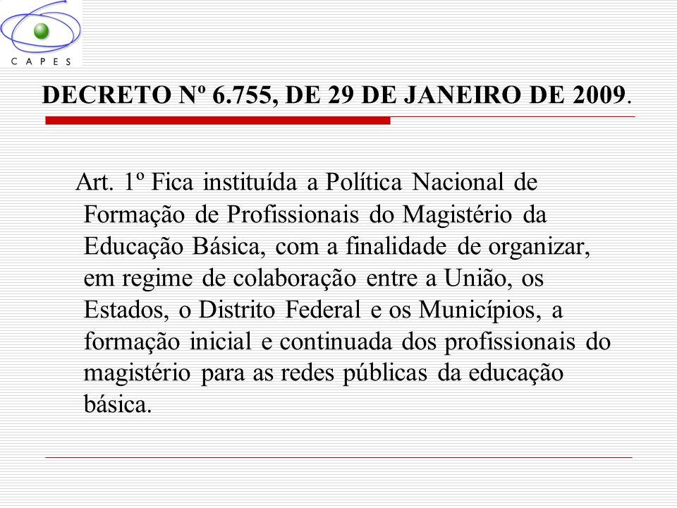 DECRETO Nº 6.755, DE 29 DE JANEIRO DE 2009. Art. 1º Fica instituída a Política Nacional de Formação de Profissionais do Magistério da Educação Básica,