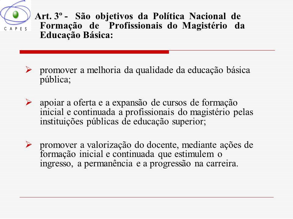 Art. 3º - São objetivos da Política Nacional de Formação de Profissionais do Magistério da Educação Básica: promover a melhoria da qualidade da educaç