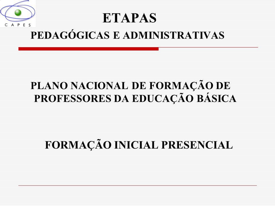 ETAPAS PEDAGÓGICAS E ADMINISTRATIVAS PLANO NACIONAL DE FORMAÇÃO DE PROFESSORES DA EDUCAÇÃO BÁSICA FORMAÇÃO INICIAL PRESENCIAL