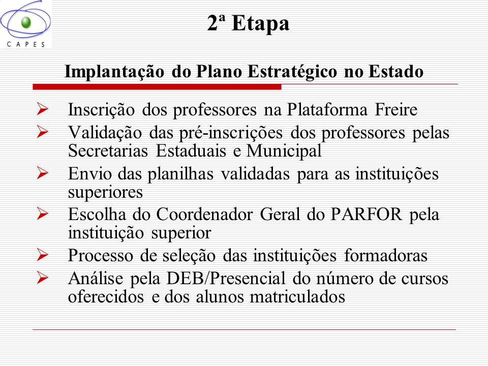 2ª Etapa Implantação do Plano Estratégico no Estado Inscrição dos professores na Plataforma Freire Validação das pré-inscrições dos professores pelas
