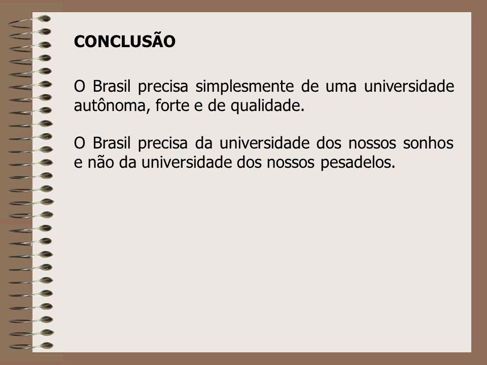 CONCLUSÃO O Brasil precisa simplesmente de uma universidade autônoma, forte e de qualidade. O Brasil precisa da universidade dos nossos sonhos e não d