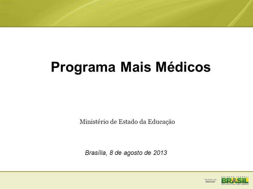 Programa Mais Médicos Ministério de Estado da Educação Brasília, 8 de agosto de 2013