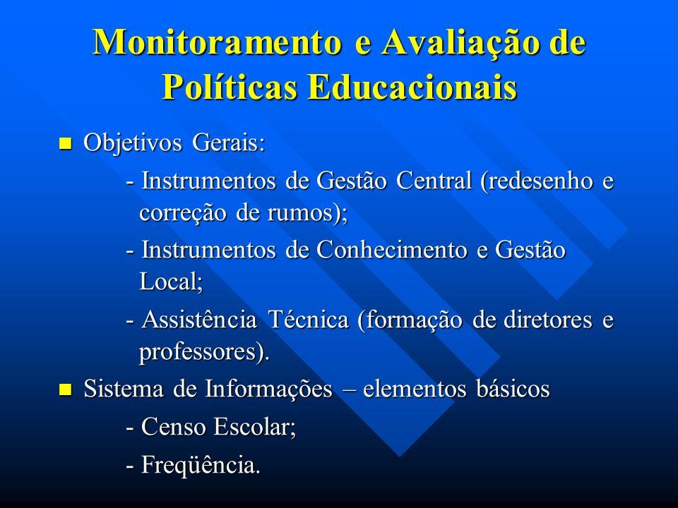 Monitoramento e Avaliação de Políticas Educacionais Objetivos Gerais: Objetivos Gerais: - Instrumentos de Gestão Central (redesenho e correção de rumo