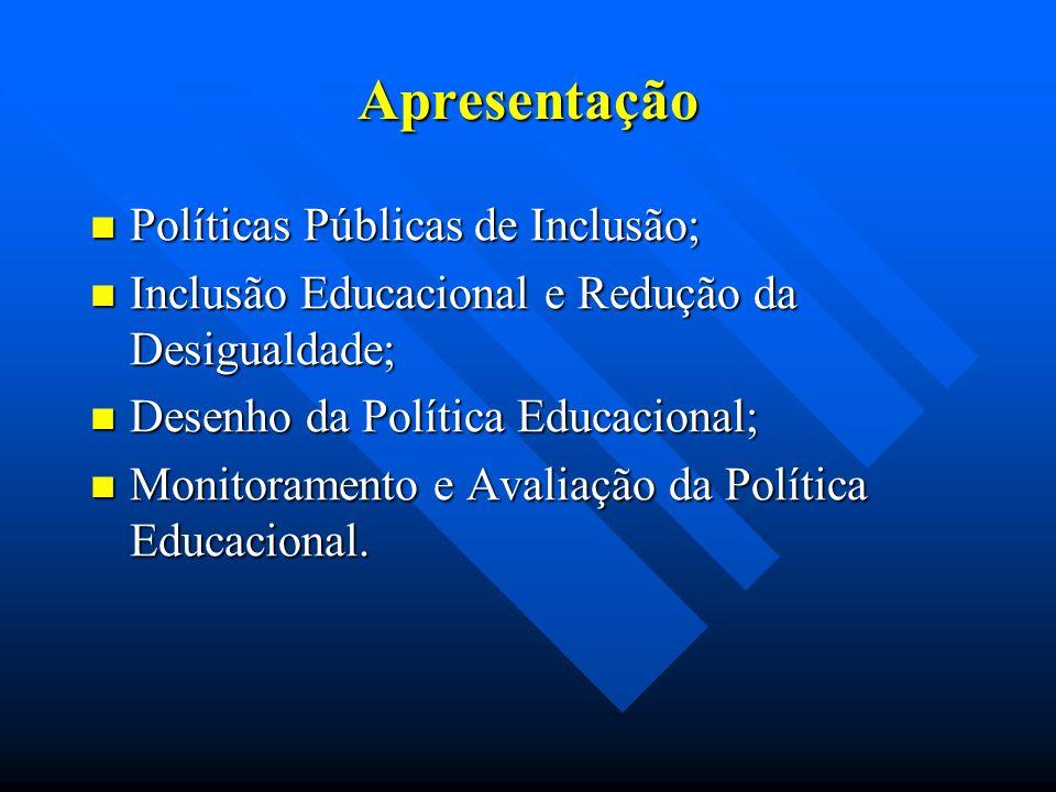 Apresentação Políticas Públicas de Inclusão; Políticas Públicas de Inclusão; Inclusão Educacional e Redução da Desigualdade; Inclusão Educacional e Redução da Desigualdade; Desenho da Política Educacional; Desenho da Política Educacional; Monitoramento e Avaliação da Política Educacional.