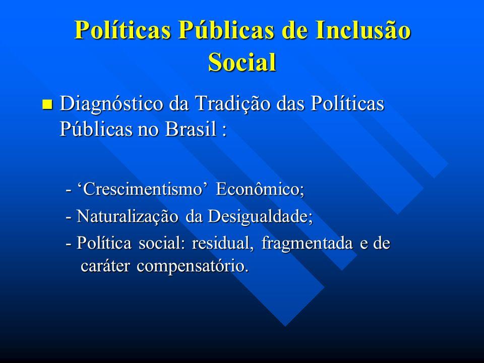 Políticas Públicas de Inclusão Social Diagnóstico da Tradição das Políticas Públicas no Brasil : Diagnóstico da Tradição das Políticas Públicas no Bra