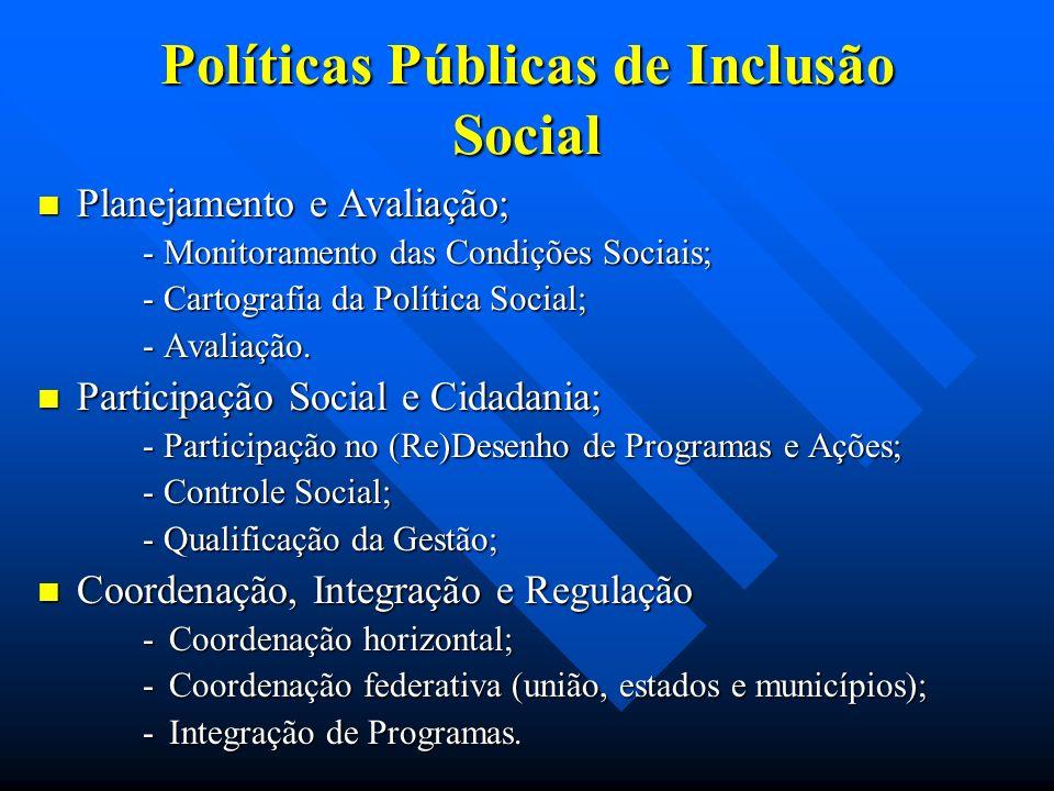 Políticas Públicas de Inclusão Social Planejamento e Avaliação; Planejamento e Avaliação; - Monitoramento das Condições Sociais; - Cartografia da Política Social; - Avaliação.