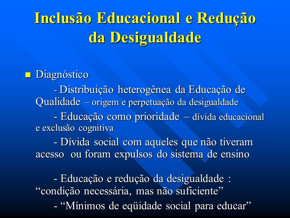 Inclusão Educacional e Redução da Desigualdade Diagnóstico Diagnóstico - Distribuição heterogênea da Educação de Qualidade – origem e perpetuação da desigualdade - Educação como prioridade – dívida educacional e exclusão cognitiva - Dívida social com aqueles que não tiveram acesso ou foram expulsos do sistema de ensino - Educação e redução da desigualdade : condição necessária, mas não suficiente - Mínimos de eqüidade social para educar