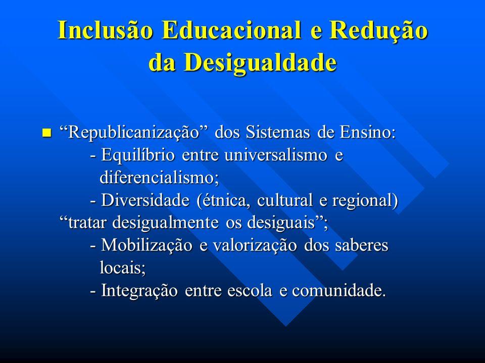 Inclusão Educacional e Redução da Desigualdade Republicanização dos Sistemas de Ensino: - Equilíbrio entre universalismo e diferencialismo; - Diversidade (étnica, cultural e regional) tratar desigualmente os desiguais; - Mobilização e valorização dos saberes locais; - Integração entre escola e comunidade.