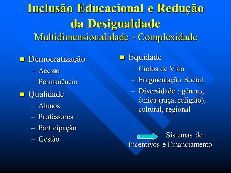 Inclusão Educacional e Redução da Desigualdade Multidimensionalidade - Complexidade Democratização Democratização –Acesso –Permanência Qualidade Quali