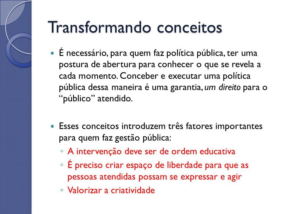 É necessário, para quem faz política pública, ter uma postura de abertura para conhecer o que se revela a cada momento. Conceber e executar uma políti