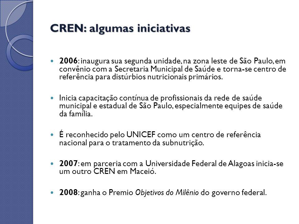CREN: algumas iniciativas 2006: inaugura sua segunda unidade, na zona leste de São Paulo, em convênio com a Secretaria Municipal de Saúde e torna-se c