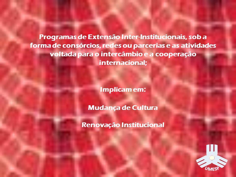 Programas de Extensão Inter-Institucionais, sob a forma de consórcios, redes ou parcerias e as atividades voltada para o intercâmbio e a cooperação internacional; Implicam em : Mudança de Cultura Renovação Institucional