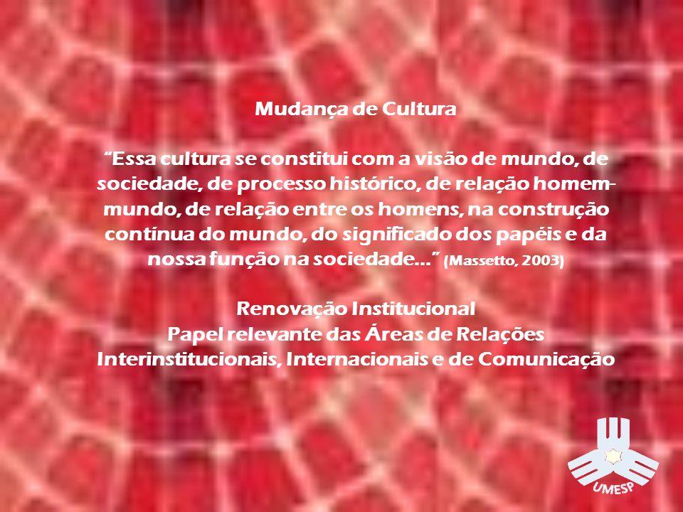 Mudança de Cultura Essa cultura se constitui com a visão de mundo, de sociedade, de processo histórico, de relação homem- mundo, de relação entre os homens, na construção contínua do mundo, do significado dos papéis e da nossa função na sociedade...