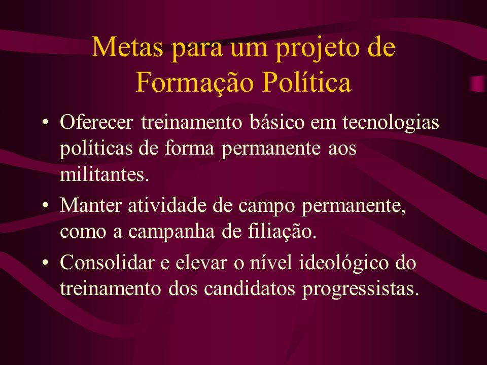 Metas para um projeto de Formação Política Oferecer treinamento básico em tecnologias políticas de forma permanente aos militantes. Manter atividade d