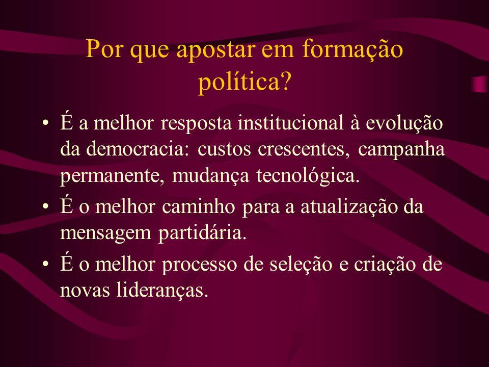 Por que apostar em formação política? É a melhor resposta institucional à evolução da democracia: custos crescentes, campanha permanente, mudança tecn