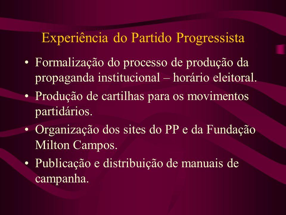 Experiência do Partido Progressista Formalização do processo de produção da propaganda institucional – horário eleitoral. Produção de cartilhas para o