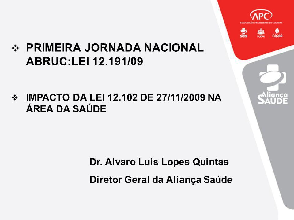PRIMEIRA JORNADA NACIONAL ABRUC:LEI 12.191/09 IMPACTO DA LEI 12.102 DE 27/11/2009 NA ÁREA DA SAÚDE Dr. Alvaro Luis Lopes Quintas Diretor Geral da Alia