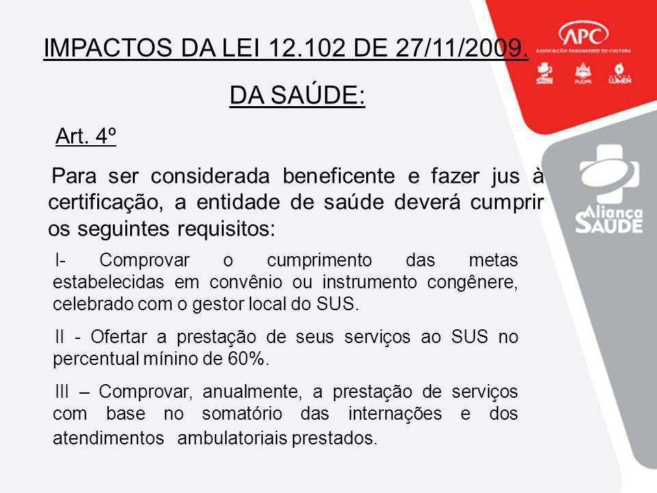 IMPACTOS DA LEI 12.102 DE 27/11/2009. DA SAÚDE: Art. 4º Para ser considerada beneficente e fazer jus à certificação, a entidade de saúde deverá cumpri